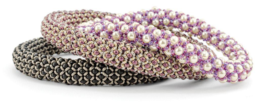 Chenille BAngles, by Nichole Strarman. Demi Round and size 8/0 seed beads