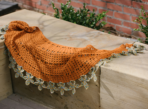 Chestnut Wrap draped across bench