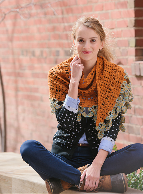 Chestnut Crochet Wrap over the shoulders