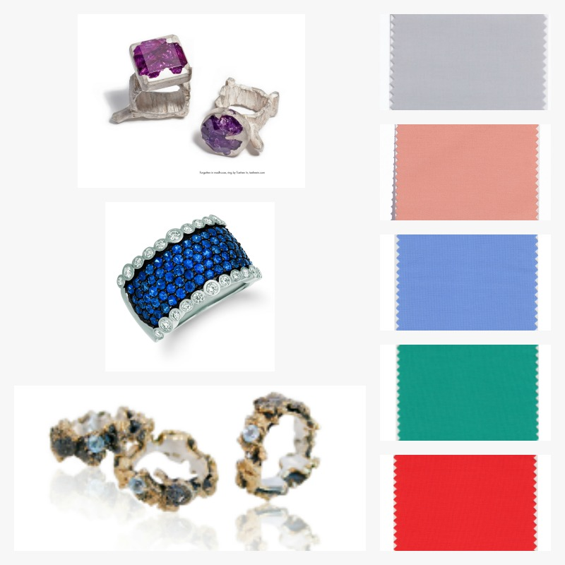 Pantone Colors: Spring Crocus, Emperador, Chili Oil, Ultra Violet, and Sailor Blue. LeVian, Blueberry Sapphire Ring. Photo: Courtesy LeVian. Taehee In, Forgotten in Madhouse Ring. Photo: Courtesy Swarovski. Karolina Bik Jewelry, Out of the Sea Rings. Photo: Courtesy Swarovski.