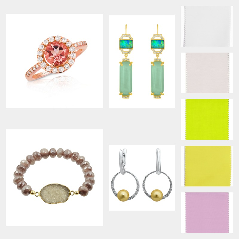 Pantone Colors: Coconut Milk, Almost Mauve, Lime Punch, Meadow Lark, and Pink Lavendar. Amy Glaswand, Edge Collection Jazz Earrings. Photo: Courtesy Jewelers of America. LeVian, Ring. Photo: Courtesy LeVian. Kamaria Jewelry, Bracelet. Photo: Courtesy Jewelers of America. Drukker Designs, Earrings. Photo: Courtesy Jewelers of America.
