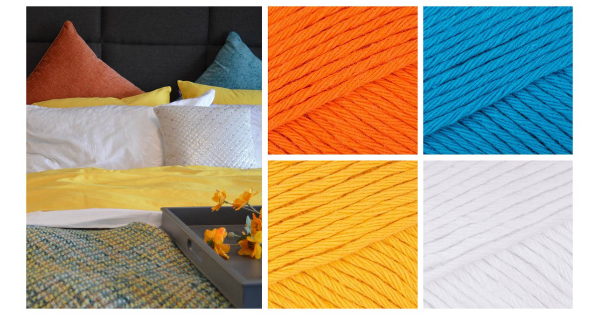 Crochet home decor: A colorful bedroom needs a Mandala Cushion in blood orange, kingfisher blue, mustard yellow, and paper white.   Photo Credit: Pixabay and Paintbox Yarns