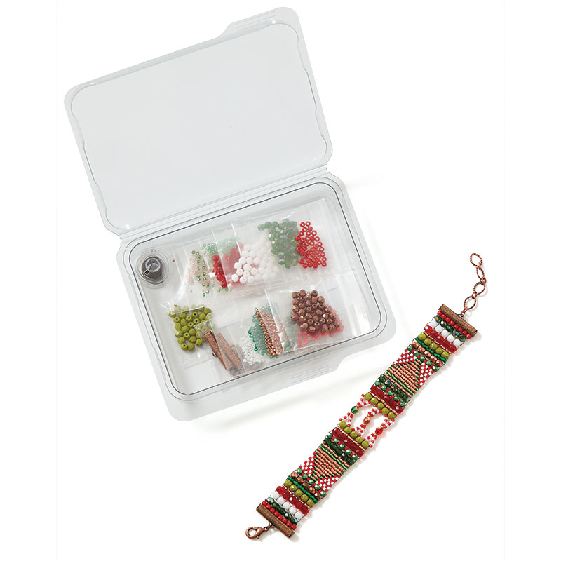 From Glass Garden Beads come two new holiday bracelet kits, Mountain Paths Candy Cane (shown above) and Holiday Ice.