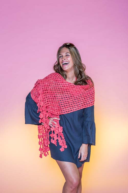 Coral Flame Wrap crochet shawl