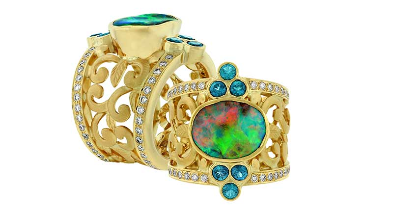 Paula Crevoshay delights with the settings for these magnificent opals.