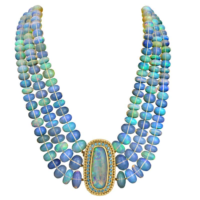 necklace designed by Paula Crovhsay with an oval center opal and amazing Ethiopian opal beads