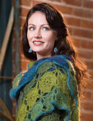 The Katrina Shawl crochet pattern has 3 different vibrant colors and can be found in the free Crochet Motif Patterns eBook.