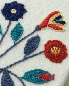 Detail of A Book Cover in Crewel Embroidery to Stitch by Kathy Augustine. PW March/April 2016; Photo by Joe Coca.