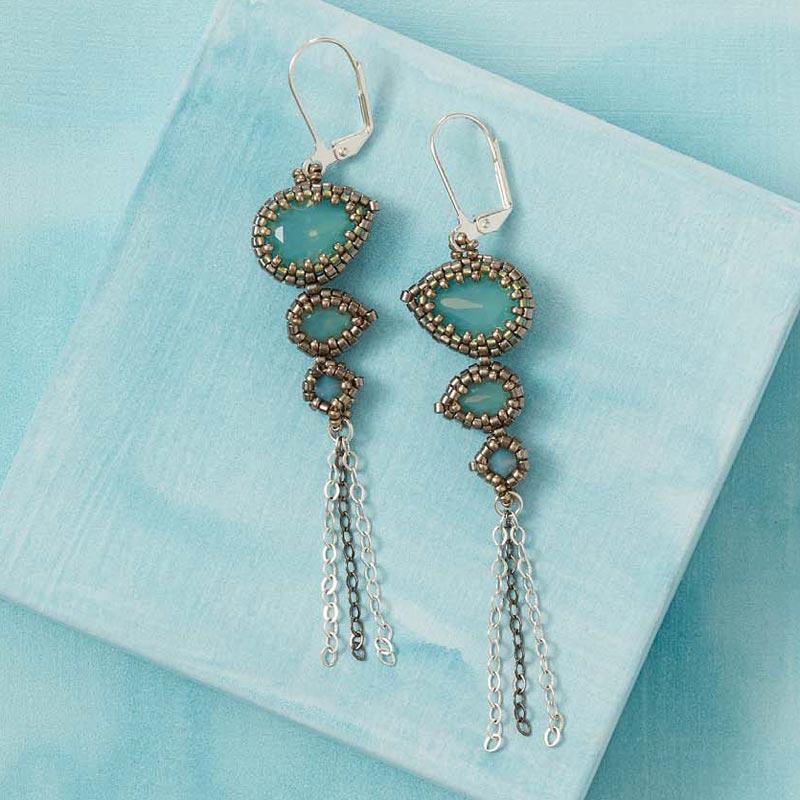 Beadwork Designer of the Year, Melissa Grakowsky Shippee, Crystal Falls earrings.