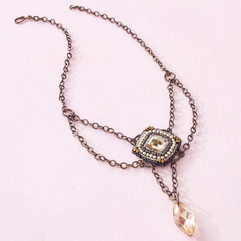 Beadwork Designer of the Year, Melissa Grakowsky Shippee, Crystal Pendulum necklace.