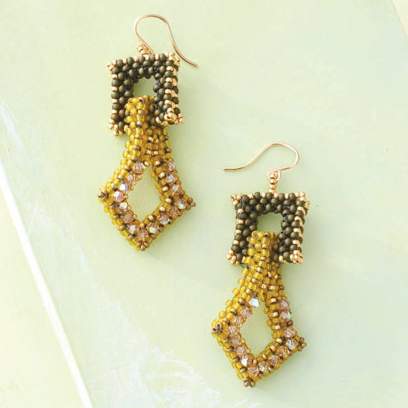 5 star pattern collection, Cubed Chadelier earrings beadweaving design