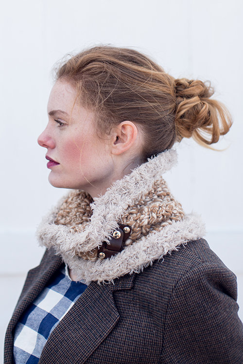 Side view of Cumulus Crochet Cowl