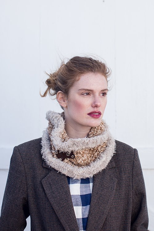 Cumulus Crochet Cowl with Faux Fur Edging