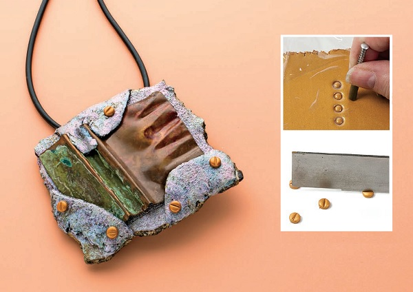 "make faux polymer clay ""screws"" in Cynthia Blanton's Raku Radiance"