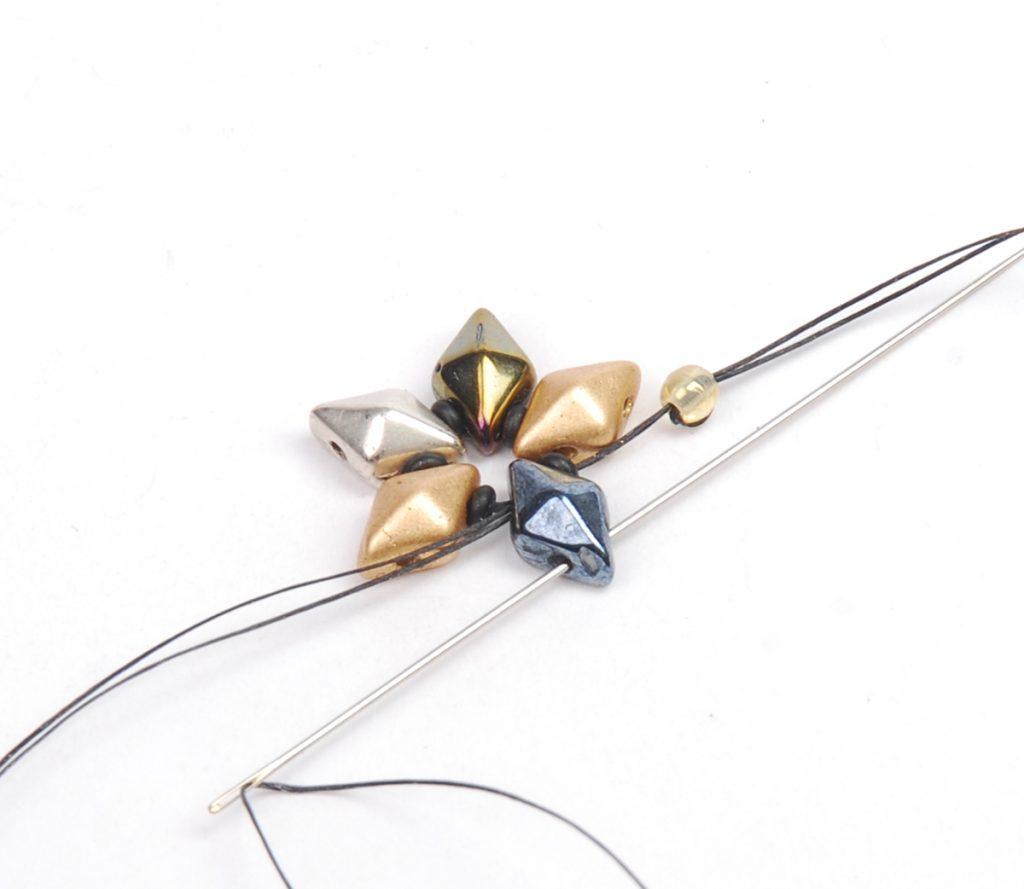 DiamonDuo Bracelet, bead weaving instructions, Step 2