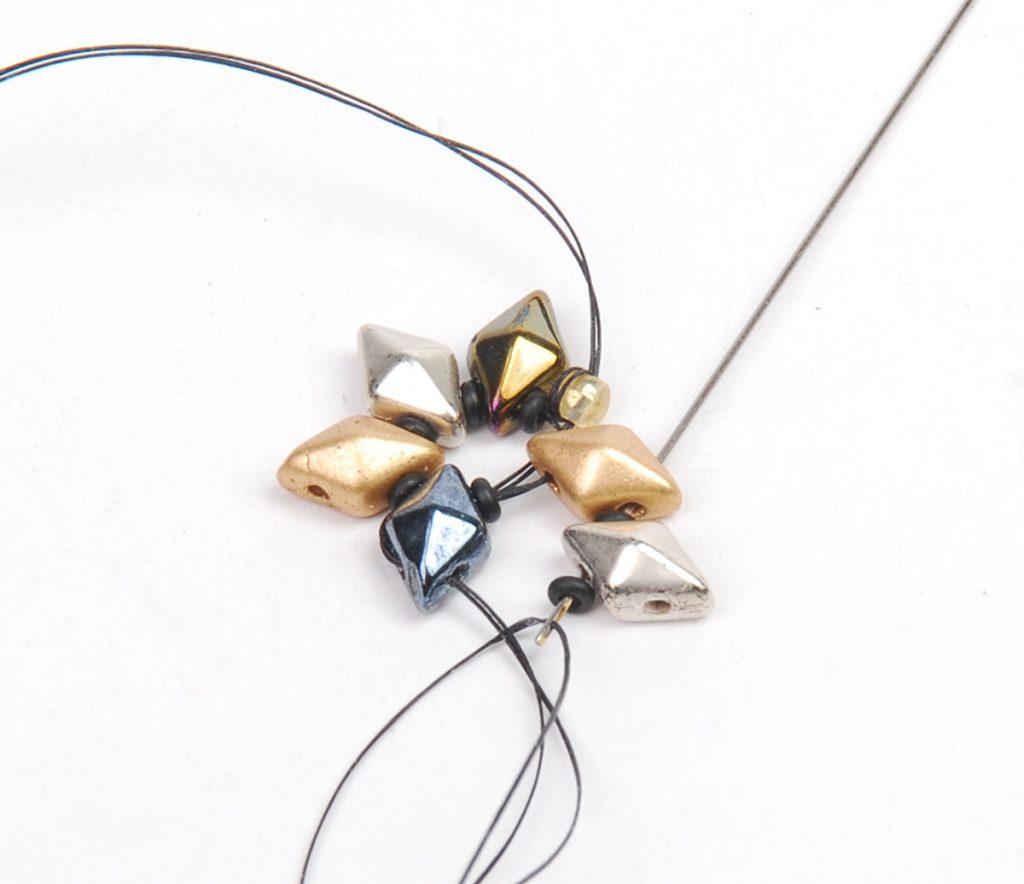 DiamonDuo Bracelet, bead weaving instructions, Step 3