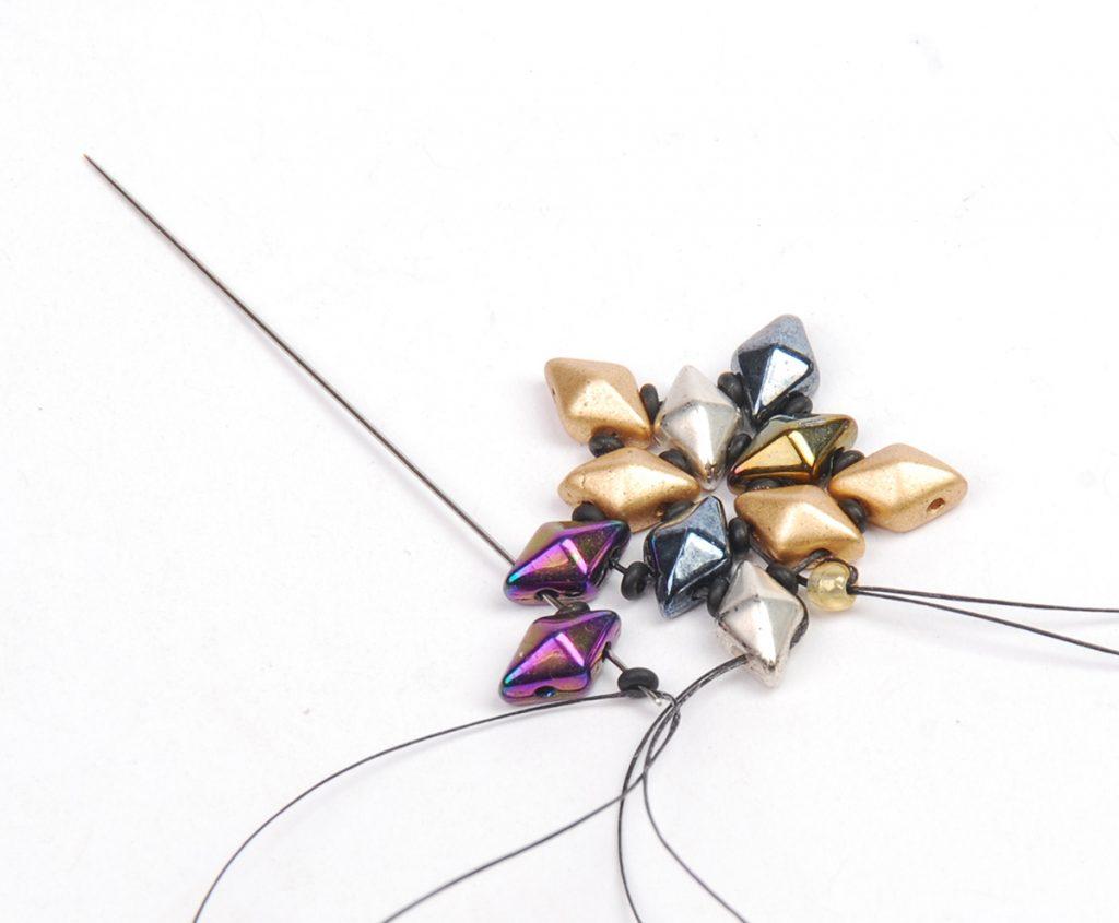 DiamonDuo Bracelet, bead weaving instructions, Step 5a