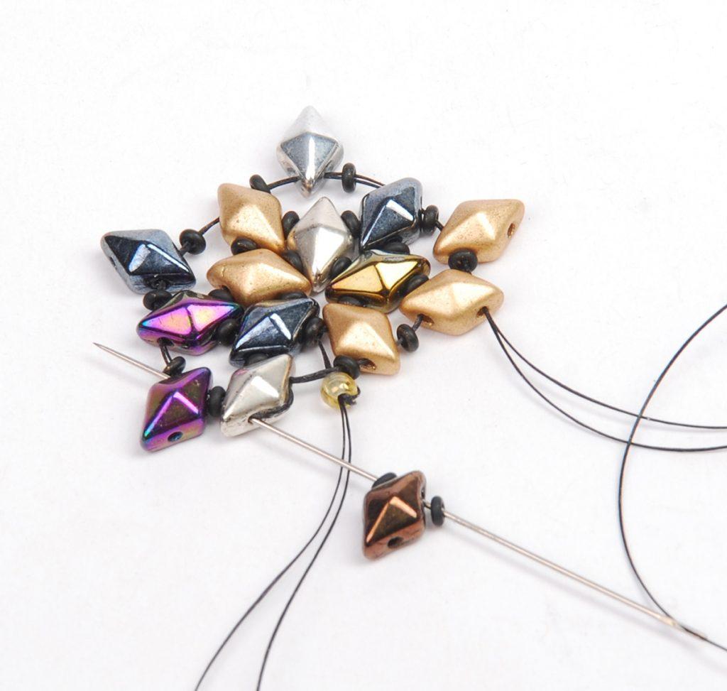 DiamonDuo Bracelet, bead weaving instructions, Step 5