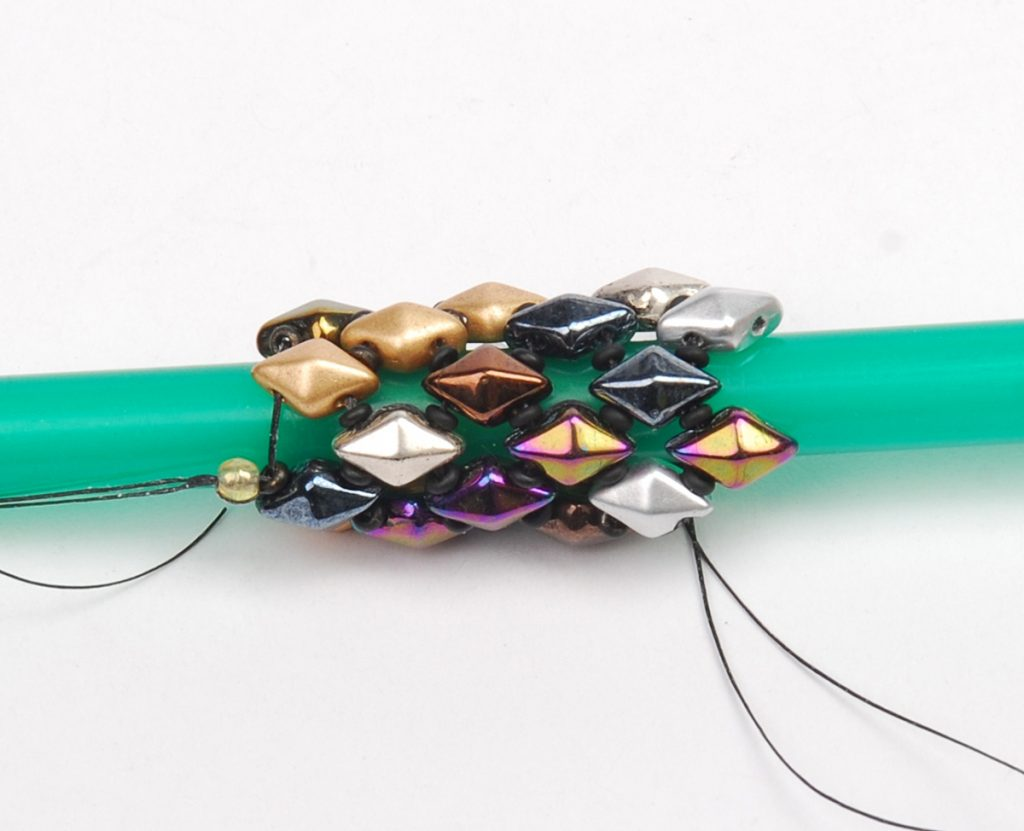 DiamonDuo Bracelet, bead weaving instructions, Step 6