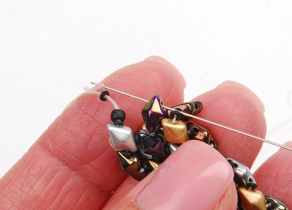DiamonDuo Bracelet, bead weaving instructions, Step 8a