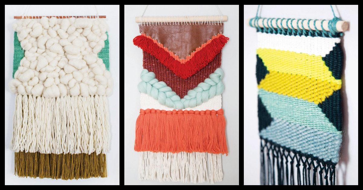 DIY wall hangings demonstrating tapestry weaving techniques.