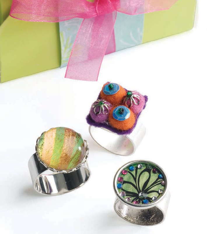 Mixed media jewelry projects including DIY epoxy clay rings.