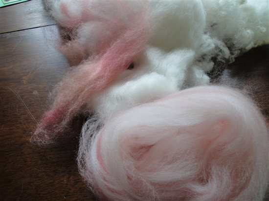 Amy's hand-combed fiber sample