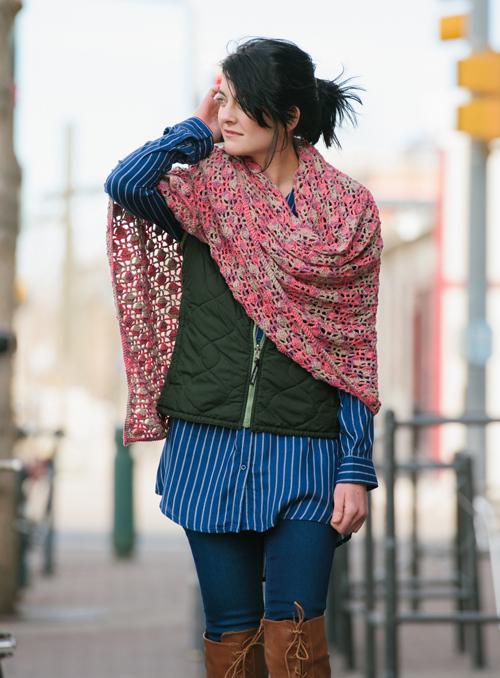 Dappled Crochet Shawl worn over the shoulder