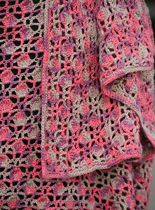 Close up of stitch work in Dappled Crochet Shawl