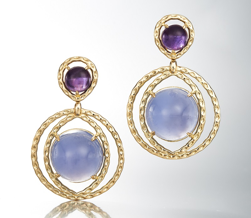 gemstone jewelry: Starburst amethyst earrings by Dara de Koning