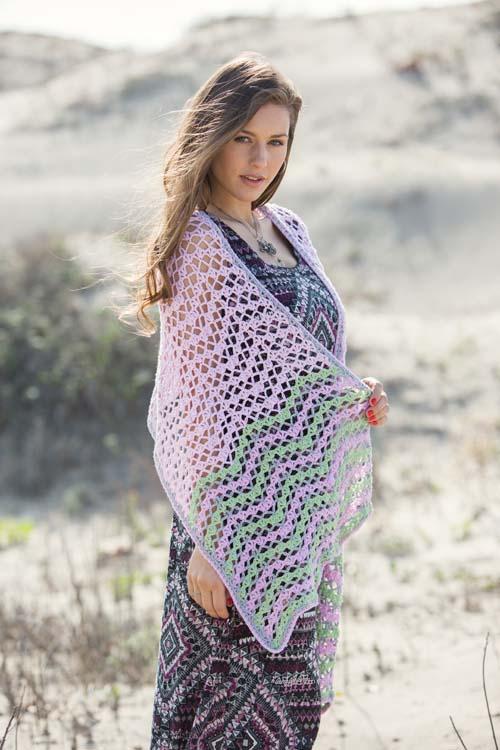 Dawn Waves Crochet Shawl Chevron