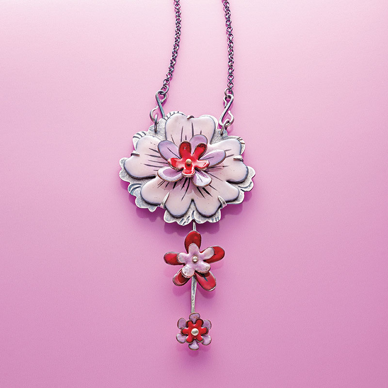 Enamel on Dapped Metal Flowers by Kirsten Denbow