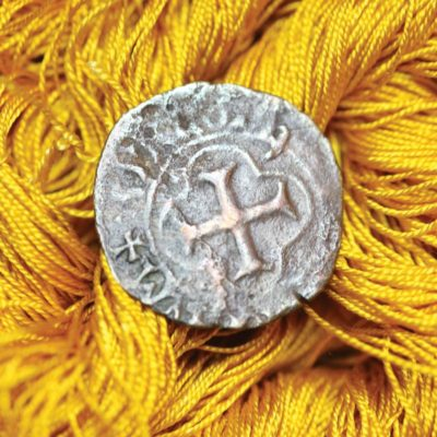 Making Silk for Embroidery. Denier coin from the collection of Michael Cook