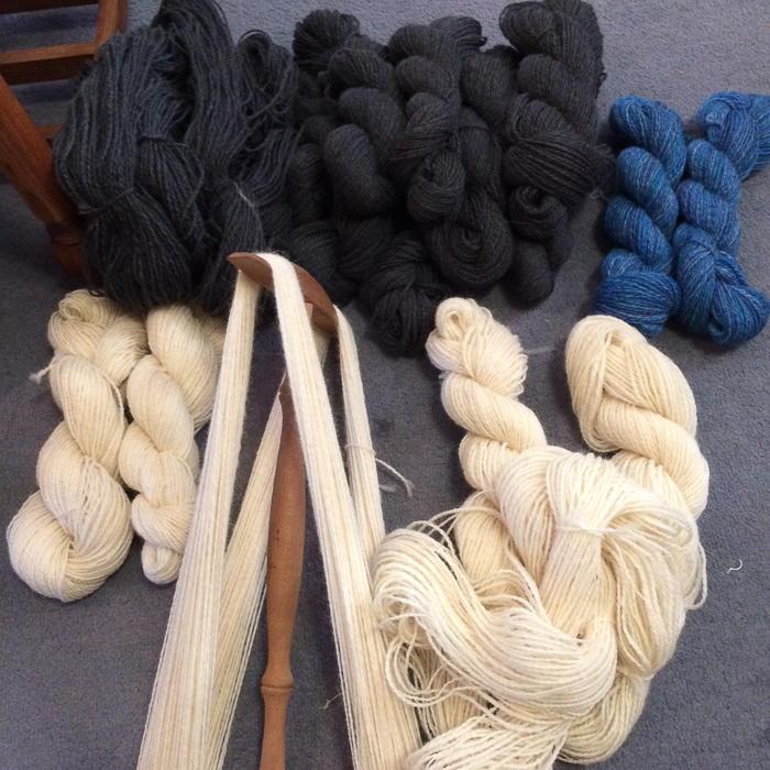 Shiela's total: 8882 Spinzilla yards (including singles and plying yards) destined to become a pair of socks, the Kathe Cardigan, and Shiela's Christmas jumper project, Boreal by Kate Davies. Photo: Shiela Dixon.