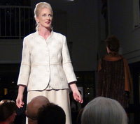 Karen and Susan's handwoven suit, modeled by Bearta Graff on the Project Handmade 2012 runway. Photo by Jeff Bullock.
