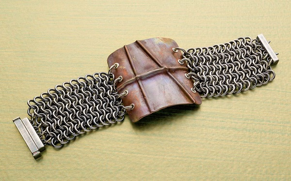 chain maille jewelry making with fold-formed metal accents