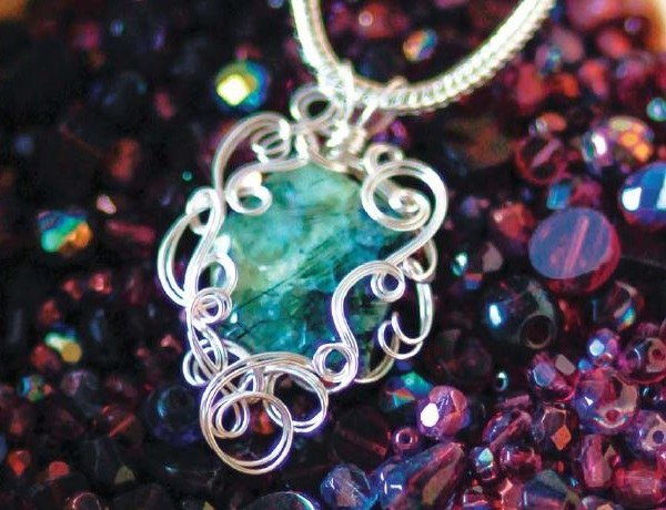 Double Strand wire jewelry pendant by Gayle Bird