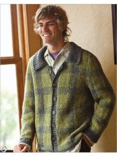 This men's plaid cardigan is worked in pieces in stranded colorwork. Set-in sleeves, turned hems, saddle shoulders, and a foldover collar make for a structured outerware with style.