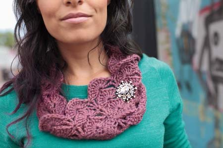 This lace crochet cowl is a fast and easy project.