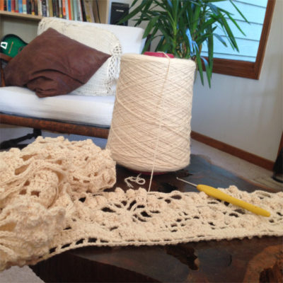 Sara's work in progress of the Emergence Crochet Shawl by Kathryn White