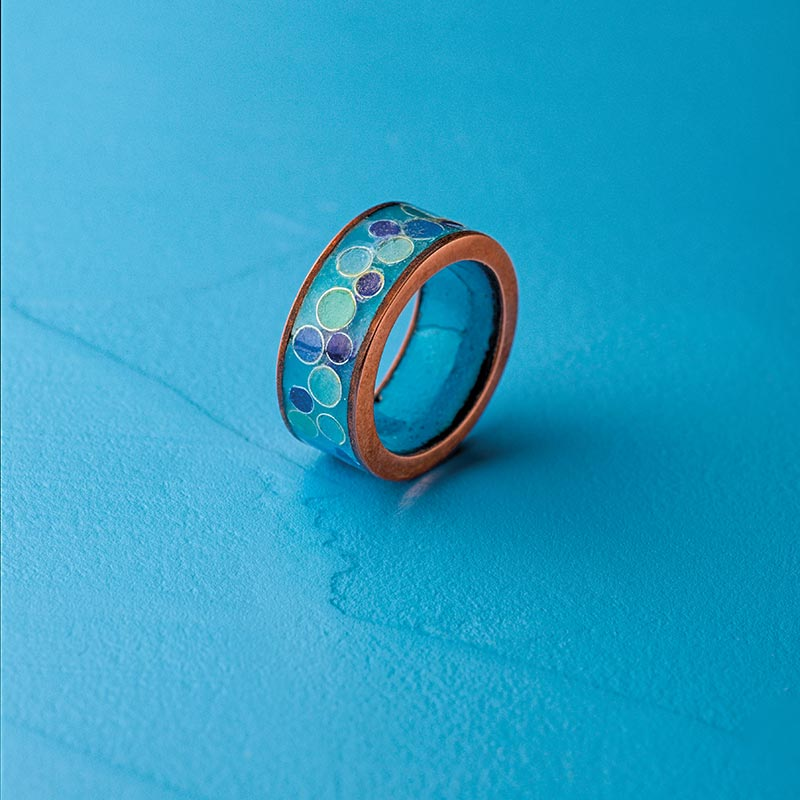 Cloisonné Enamelwork - Simple band ring by Lessley Burke