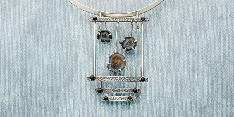 Advanced Metalsmithing: Swinging Rocks Mini Geode Necklace by Erica Stice
