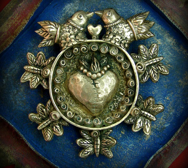 Eternal Love Heart metal clay jewelry by Lorena Angulo