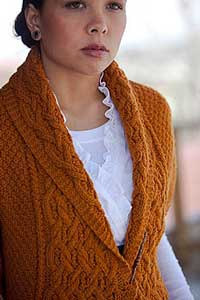Example of how reversible cable knitting techniques can 'shape-shift' regular knits into something with more volume, Every Way Wrap.