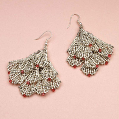 Favorite Bead Stitches magazine: Shimmering Fans, earrings by Csilla Csirmaz, featuring a stunning Deco-style design.
