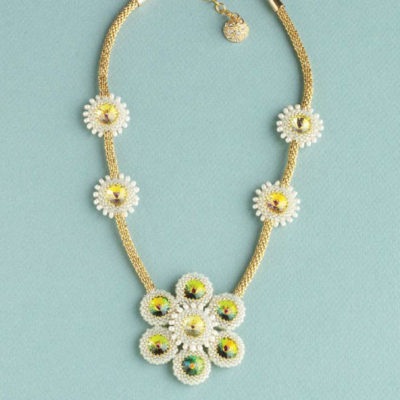 Favorite Bead Stitches Magazine: Marcia Rose's Midas Touch necklace, with peyote stitch–bezeled rivolis shaped into flowerlike components and paired with a tubular brick–stitched strap of gold