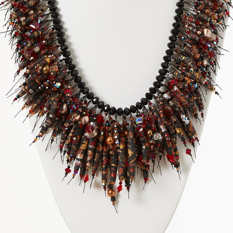 fabulous fabric bead necklace by Kristal Wick