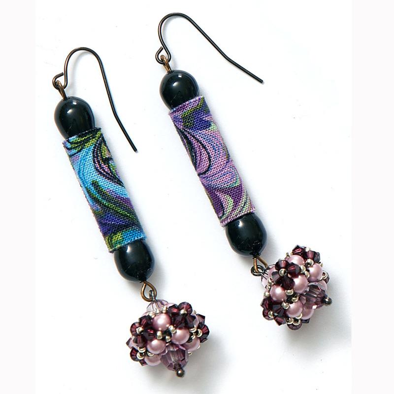 Fabric bead earrings by Kristal Wick