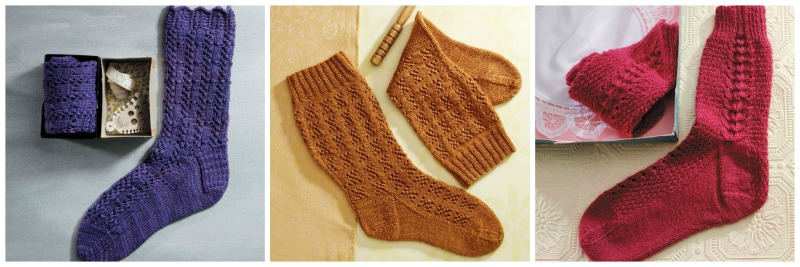 Left: Fancy Silk Sock; Center: Miranda Pattern Sock; Right: French Sock. Photos by Joe Coca.