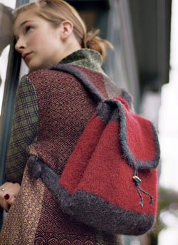 Learn about choosing and felting yarns for your knitting projects and create knits, such as this felted daypack.